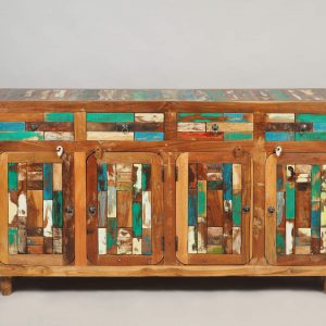 Dulap lotus din lemn reciclat, cu 4 compartimente