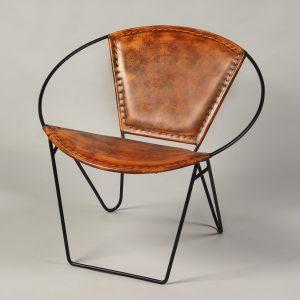 scaun metalic piele rotund