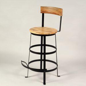 scaun stil industrial metal si lemn