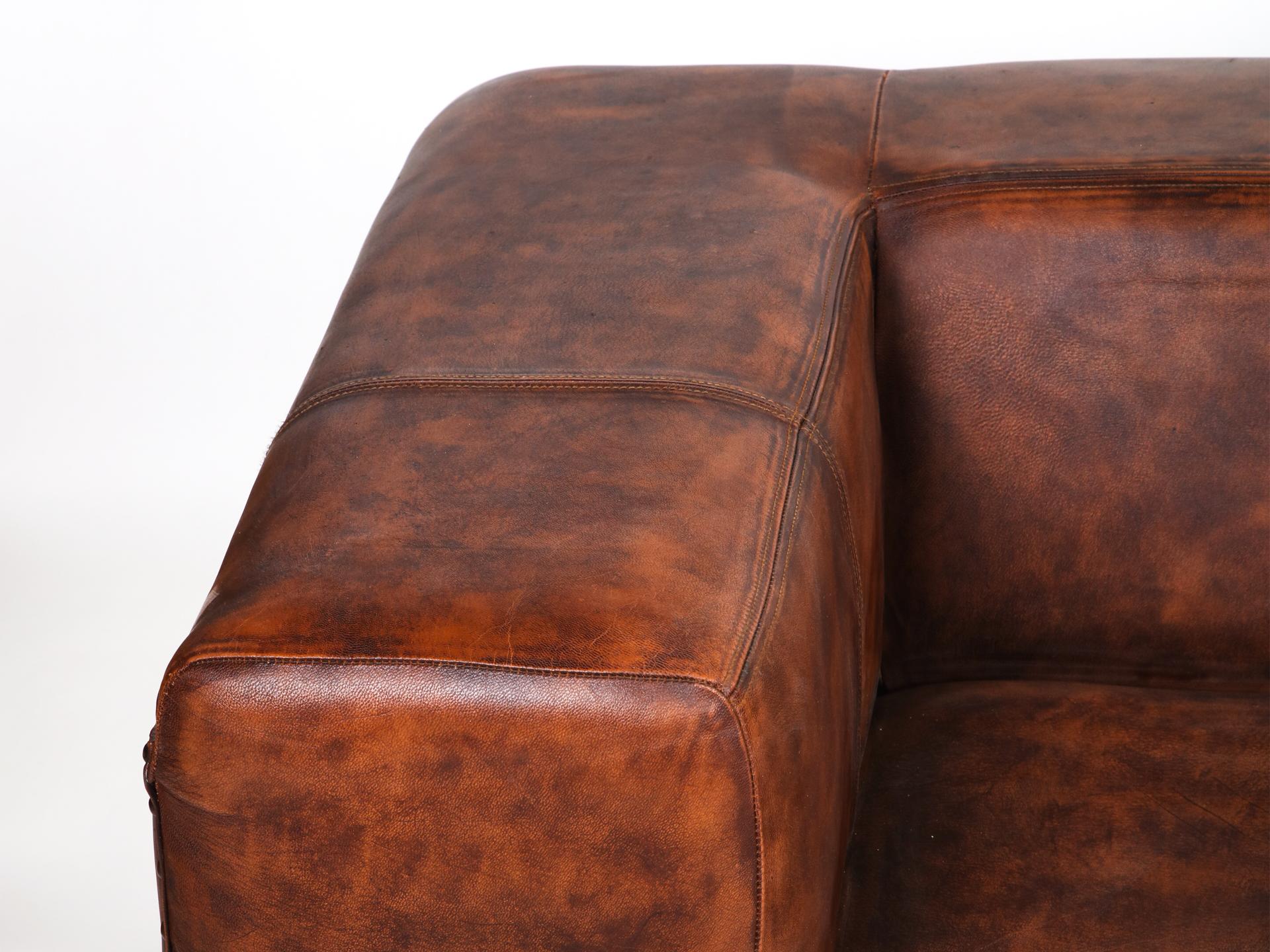 Canapea piele 2 locuri maro brat dreapta