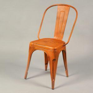 scaun bar metalic vintage portocaliu