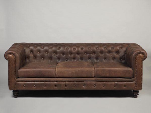canapea chesterfield trei locuri piele maro