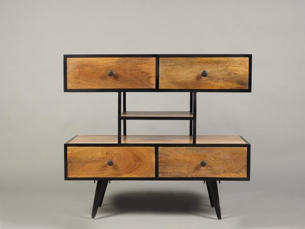 dulap stil industrial minimalist lemn si metal