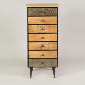 dulap inalt cu 7 sertare lemn mango metal